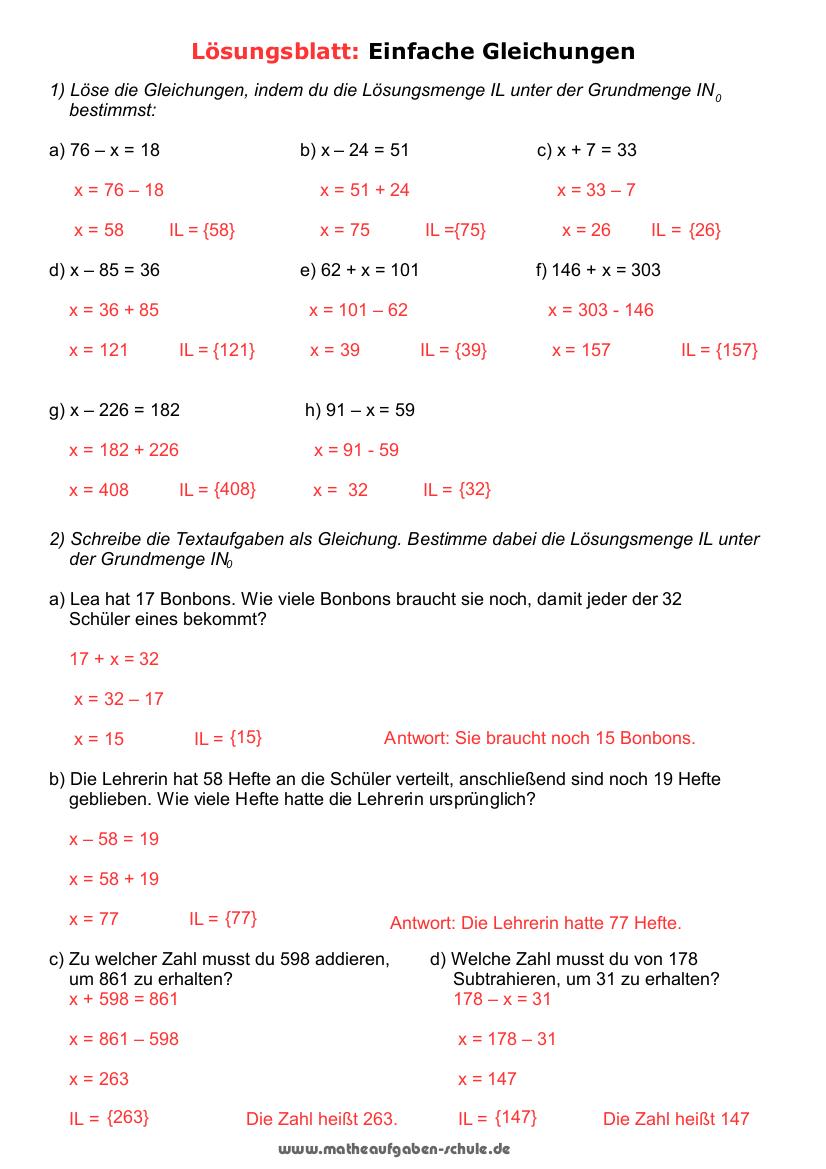 Mathematik Einfache Gleichungen