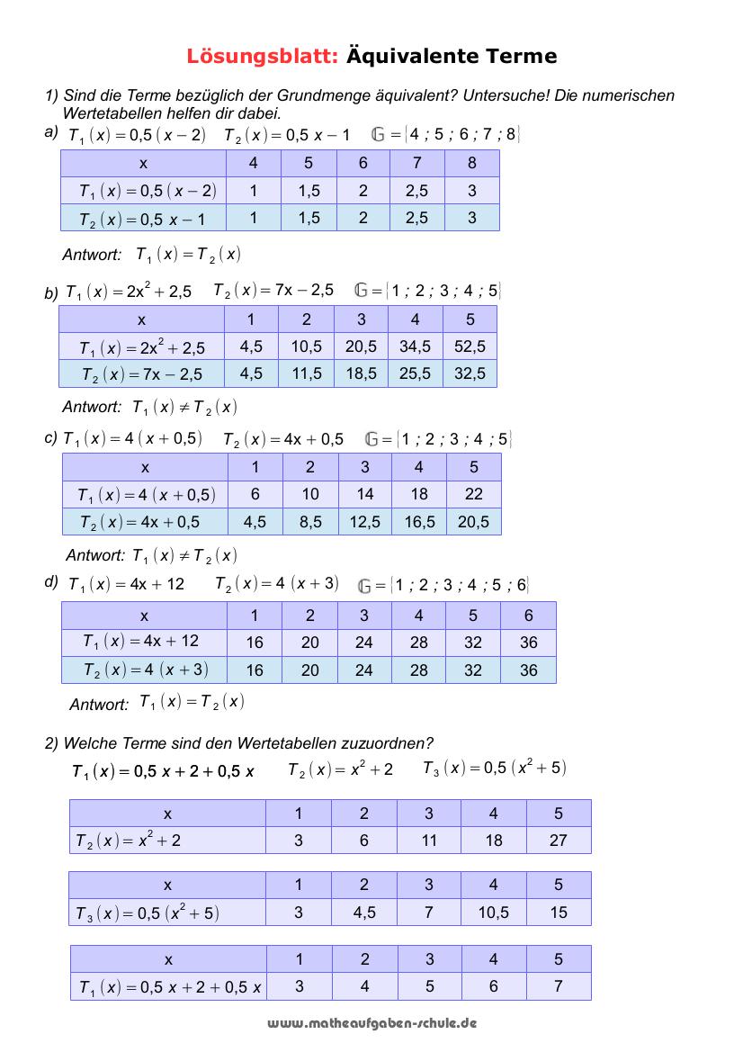 Übungsaufgaben Mathe 20. Klasse