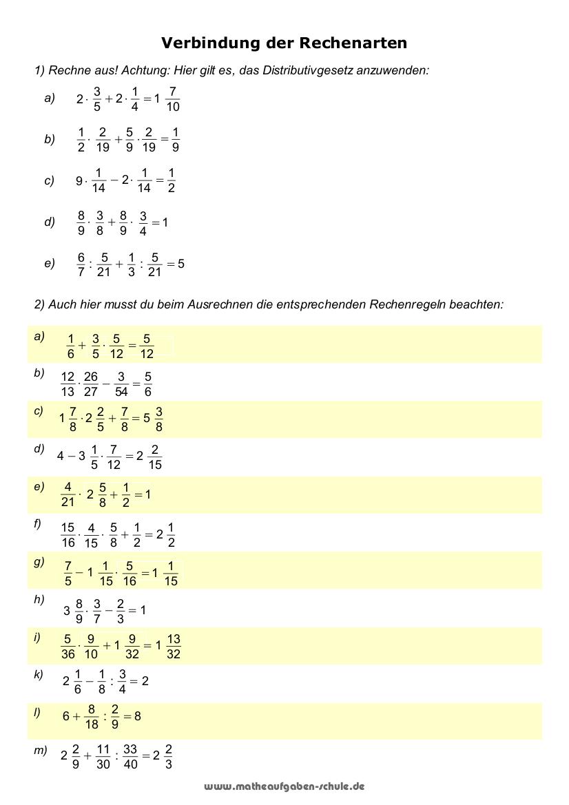 mathematik Übungen zu grundrechenarten