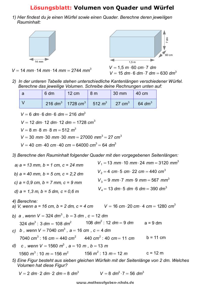 Mathematik 20. Klasse   Volumen